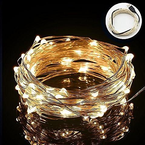 HanLuckyStars Guirnaldas Luminosas Cadena de luces 10M 100LED Resistente al agua para Adornos Boda Ceremonia árbol de Navidad Fiesta Jardín Exterior Interior,Cargar por