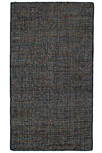 Morgenland Teppich Kelim ARVIN 200 x 200 cm Rund Schwarz Einfarbig Gestreift Designer Kurzflor...