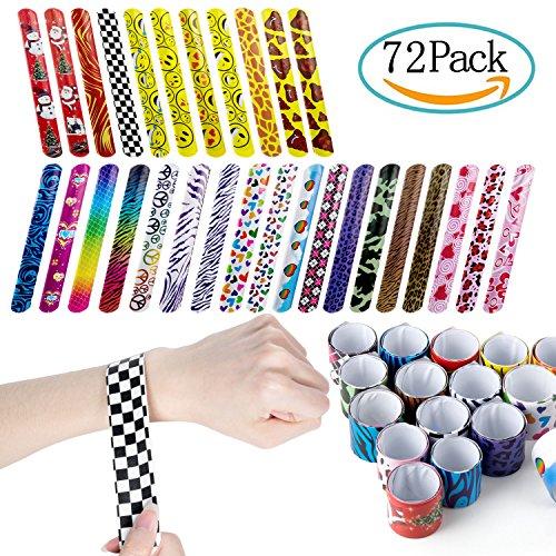 Paquete de 72 Emoji slap pulsera, ZeWoo dibujos animados Slap pulseras correa para la muñeca Círculo pulsera para los niños adultos fiesta favores, partido, llenador, niños, cumpleaños, regalo, partido suministra pequeños juguetes