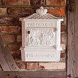 Antikas - Wandbriefkasten mit Zeitungsfach, Briefkasten Postillion, weiß rostfrei Alu