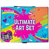 GirlZone: Ultimate Art Set For Kids, 118 Pieces, Christmas Birthday Present Gifts For Girls Age 3 4 5 6 7 8 9 + years old.