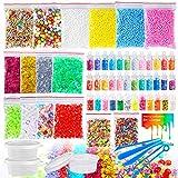 Pllieay 60 Pack Kit di Forniture di Melma Comprese Le Palle di Schiuma, Fishbowl, Barattoli di Glitter, Contenitori e Strumenti per Il Fai da Te Melma Craft (Non Contengono Melma)