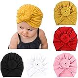 DRESHOW 5 Pièces Bébé Turban Bonnets de Naissance Chapeaux Nœuds Papillons Mignon Elastique Enfant Casquettes Bonnets Pour Bé