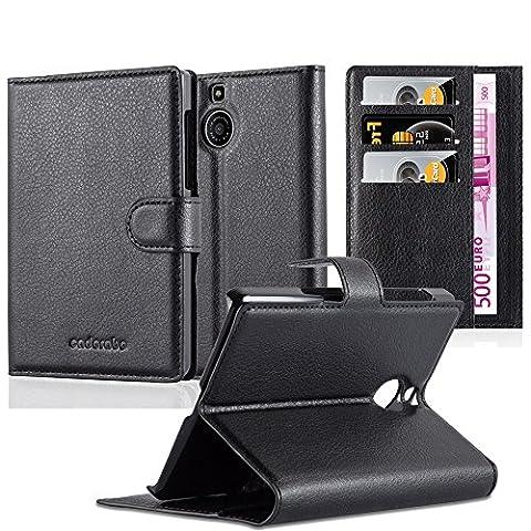 Cadorabo - Etui Housse pour Blackberry PASSPORT SILVER EDITION - Coque Case Cover Bumper Portefeuille (avec stand horizontale et fentes pour cartes) en NOIR DE JAIS