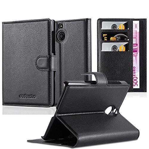 Cadorabo Hülle für BlackBerry Passport Silver Edition - Hülle in Phantom SCHWARZ - Handyhülle mit Kartenfach & Standfunktion - Case Cover Schutzhülle Etui Tasche Book Klapp Style