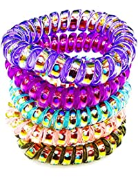 Transparent Glittery Spiral Hair Rubber Band Coil Hair Ties Women Ponytail Holder Traceless Rubber Bands