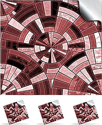 2 Dusty Red - Self Adhesive Mosaic Wall Tile Decals For 150mm (6 inch) Square Tiles –(P11)- Realistic Looking Stick On Wall Tile Transfers Directly From the Manufacturer: TILE STYLE DECALS, No Middleman -- Peel and Stick on Tile to Transform your Kitchen, Bathroom – Oil-proof, Waterproof Tile Stickers, Heat Resistant Sticks on tile kitchen tiles stickers / Bathrooms Tile Stickers(Pack of 2, Dusty Red)