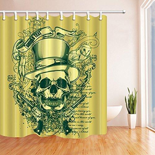�nge für Bad Western Festival Schädel und Waffen gegen DarkKhaki Kulisse Polyester Stoff wasserdicht Bad Vorhang Duschvorhang Haken enthalten 70.8X70.8in (Halloween-hinter Den Kulissen)