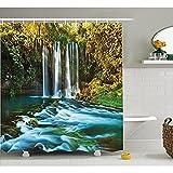 yeuss natur Wasserfall Decor Kollektion, Surreal Bild der Wasserfälle unter den Bäumen Fairy Lake in der Türkei Oriental Polyester-Natur,-Badezimmer Dusche Vorhang, Set mit Haken, Multi 152,4x 182,9cm, 60