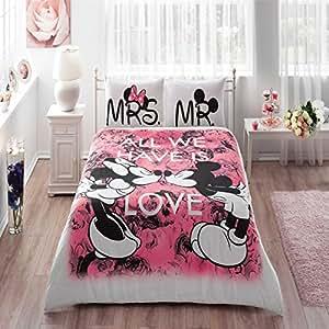 Bettwäsche 200x220 4tlg Bettbezüge Disney Mickey & Minnie