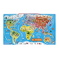 Janod Wooden Magnetic World Map Puzzle 92 pieces