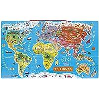 Janod Puzzle magnético del Mundo de madera 92 piezas, Version en Español (J05503)