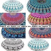 "Sophia Art 5 pcs lot 32"" Hippie Mandala Wholesale lot Floor Pillow Cushion Seating Throw Cover Pouf Cover Round Bohemian Yoga Decor Floor Cushion Case- 32"" Multi Color"