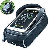 Fahrradtasche, Selighting Wasserdicht Fahrrad Rahmentasche Oberrohrtasche Fahrrad Handy Halterung für 6 Zoll Handy (Schwarz)