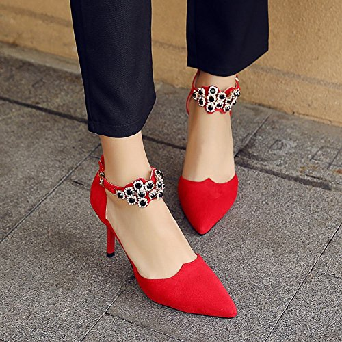 Mee Shoes Damen Stiletto ankle strap Schnalle Pumps Rot