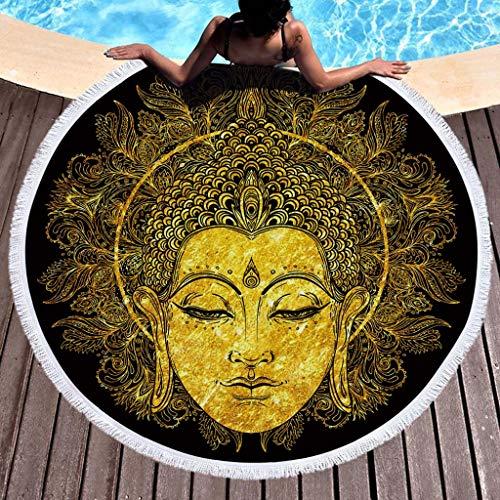 Toalla de Playa Redonda Estera de Yoga Esterilla de Picnic Alfombras Manteles Mandala Tapestry Manta Suave Estampado Impermeable Anti-Arena Al Aire Libre - Sencillo Vida (A)