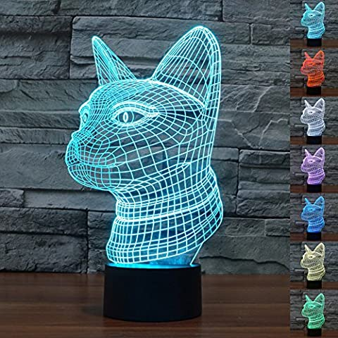 HeXie LED Night Lights 3D Illusion Bedside Table Lamp 7 Colours Changing Sleeping Lighting with Smart Touch Button Cute Gift Warming Present Creative Decoration Ideal Art and Crafts