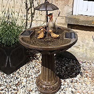 Small Solar Powered Water Feature Birdbath Umbrella Design with Duck Family PC220