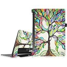 Funda Lenovo Yoga Tab 3 10 - Fintie Folio Slim Smart Case Funda Carcasa con Stand Función y Auto-Sueño / Estela para Lenovo Yoga Tab 3 10 Inch (10,1 pulgadas) 2015 Tablet, Love Tree