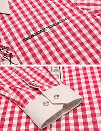 Burlady Trachtenhemd Herren Hemd Kariert Cargohemd Baumwolle Freizeit Hemden Super Qualität Rot