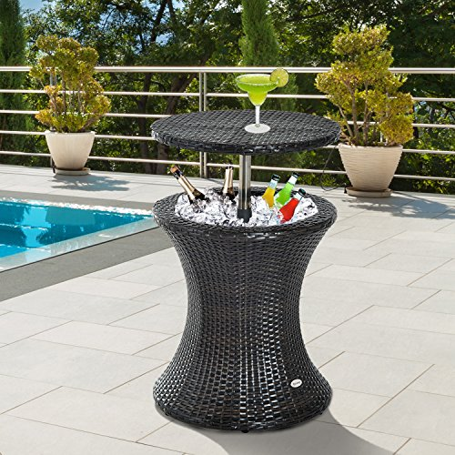 Outsunny Rattan Ice Bucket Cooler Table Beer Outdoor Patio