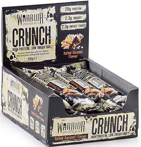 Warrior Crunch Bar Diät Protein Riegel Proteinbar Eiweiß Eiweißriegel Fitness 12x64g (Dark Choco Peanut Butter -Dunkle Schoko Erdnussbutter) -