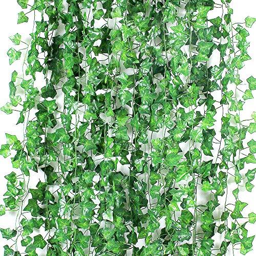 GoMaihe Kunstpflanze 24 Stücke, 157 Ft Efeu Künstlich Hängen Reben Blätter, Kunstpflanzen Indoor Outdoor Efeu, Plastik Pflanze für Weihnachten Dekoration Garten Balkon Hochzeit Party Wand Dekor