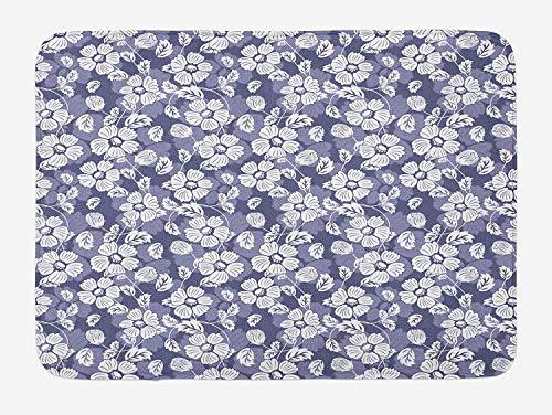 Garden Art Bath Mat, Spring Season Illustration with Blooming Flower Doodles Serene Nature Motifs, Plush Bathroom Decor Mat with Non Slip Backing, 23.6 W X 15.7 W inches, Lavander White