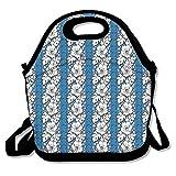 Azul Hawaii Flores neopreno bolsa de almuerzo–caja de almuerzo envase de alimento para las mujeres, niños, adultos