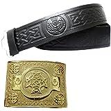 Kilt Belt with Buckle Celtic Knot Thistle Embossed Real Leather Belts Black