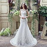 LUCKY-U Hochzeitskleid, Pincess Brautkleid Durchsichtig Spitze Elegant Nicht-Ärmel Brautkleid Party Bridemaid Kleider,Us14