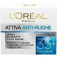 L'Oréal Paris Crema Viso Anti-rughe Attiva 35+, Crema Idratante Prime Rughe, Migliora l'Elasticità e Idrata la Pelle, 50…