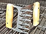 Salesburry 2X Edelstahl Fleisch-Kralle - Meat Claws für Pulled Pork - Fleischkrallen mit Holzgriff | BBQ Gabeln Qualität Bärenkrallen