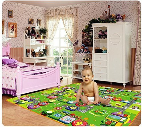 BirthMark Double Sided Baby Kid Toddler Crawl & Play Mat Foam Rug for In/Out Doors (4 ft x 6 ft) (100% Water Resistant) (Color & Design May Vary)