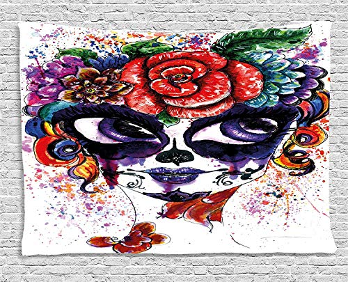 Sugar Skull Decor Tapestry, Watercolor Painting Style Girl with Make Up and Floral Crown Big Eyes, Wall Hanging for Bedroom Living Room Dorm, 80 W X 60 L Inches, Multicolor