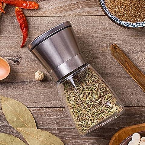 K&C sel peppermill poivrières aciérie de sel haute Grips poivre en verre moulin