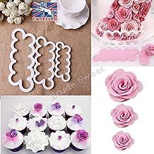 JZK® 3 Größen DIY Kuchen Rosen Ausstecher Cake Blütenblatt Cutterblumen Ausstechformen Set, Backzubehör für Dekorieren Fondant Torten Marzipan