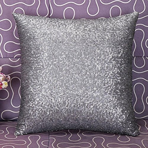 Westeng Soft Corduroy Cushion Cover Pillow Throw Case Home Office Bar Decorative Pillowcase Glitter Sequins 40x40cm Silver