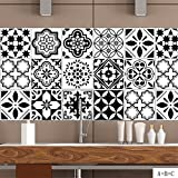 GWELL 15 stück Abwaschbar Fliesenfolie Klebefolie Fliesenaufkleber Wandfliesen 20x20 cm Fliesensticker für Küche Wohnzimmer Bad Dekoration orientalisch Muster-A