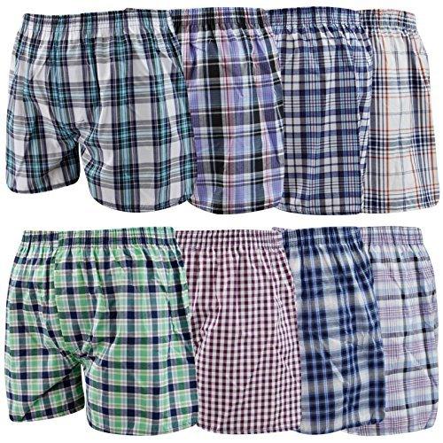 Herren-Boxershorts, gewebt, mit Karomuster, Polyester-Baumwolle, Unterwäsche, 6er-Pack Gr. Small, sortiert (Gewebte Karomuster)