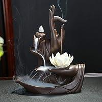 Handmade Backflow incenso Lotus/Monk Backflow porta incenso bastoncini di incenso supporto con pezzi Backflow incenso…