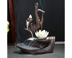 Quemador de incienso, diseño de flor de loto, de estilo zen, de reflujo, de cerámica, perfecto para el hogar, con 10 conos de