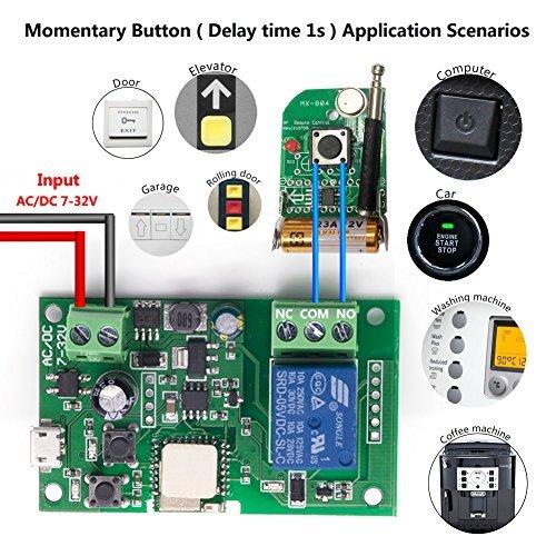 EACHEN modo momentáneo/autobloqueo/interbloqueo, para instalar uno mismo, control remoto inteligente, aplicación Ewelink...
