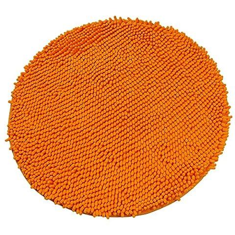 Luxbon-60cm Diameter Orange Round Circle Area Rugs Soft Chenille Non-slip Floor Mat Carpet for Home Room