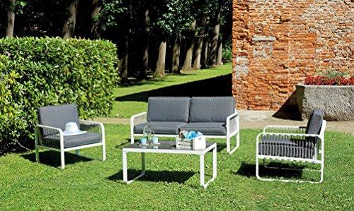 Ensemble de jardin coloris blanc et gris en aluminium / imitation bois -PEGANE-