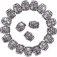 Dreadlocks Beads Anillos de Rastas Abalorios Separadores de Tubo Decoración de Pelo, Color Plateado, 20 Piezas