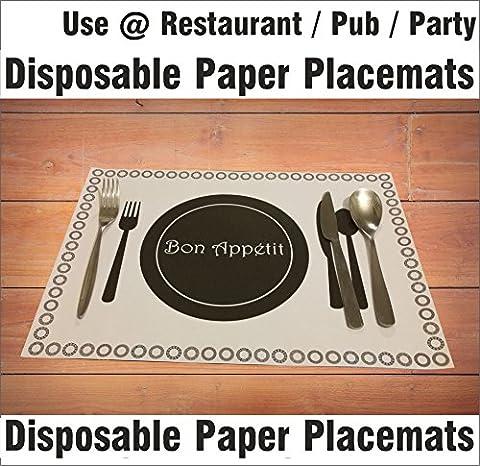 A3papier jetables Sets de table Sets de table Table de salle à manger Set de table Traiteur Restaurant Hôtel Pub fête Bureau rectangulaire Intérieur Extérieur antidérapant, 25 sheets