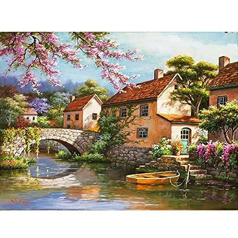 La Cabina Peinture à Huile Bricolage Peinture au Numéro Kits Numérique Peinture à l'Huile Toile de la Jolie Bourgade