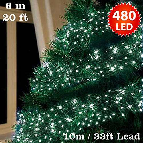 20 Ft Christmas Tree.Cluster Lights 480 Bright White Outdoor Christmas Tree Lights Led Fairy Lights 6m 20ft Lit Length Multi Action Mains Operated Green Cable