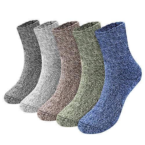 Emooqi Calcetines Para Hombre, 5 pares calcetines algodon hombre/Calcetines hasta la pantorrilla para hombre súper cálidos y suaves y cómodos